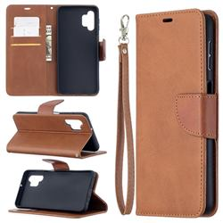 Classic Sheepskin PU Leather Phone Wallet Case for Samsung Galaxy A32 5G - Brown