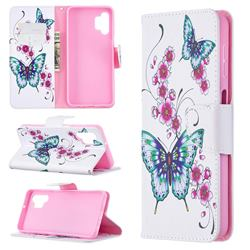 Peach Butterflies Leather Wallet Case for Samsung Galaxy A32 5G