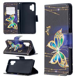 Golden Shining Butterfly Leather Wallet Case for Samsung Galaxy A32 5G