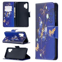 Purple Butterfly Leather Wallet Case for Samsung Galaxy A32 5G