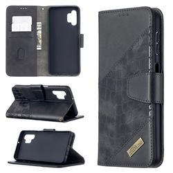 BinfenColor BF04 Color Block Stitching Crocodile Leather Case Cover for Samsung Galaxy A32 5G - Black