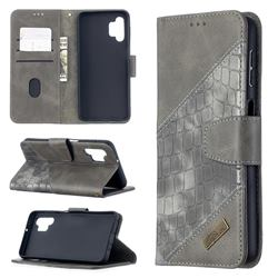 BinfenColor BF04 Color Block Stitching Crocodile Leather Case Cover for Samsung Galaxy A32 5G - Gray
