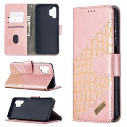 BinfenColor BF04 Color Block Stitching Crocodile Leather Case Cover for Samsung Galaxy A32 5G - Rose Gold