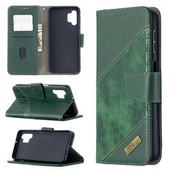 BinfenColor BF04 Color Block Stitching Crocodile Leather Case Cover for Samsung Galaxy A32 5G - Green