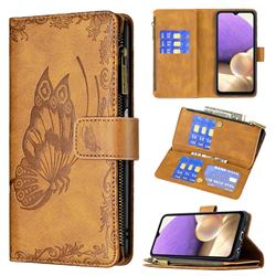 Binfen Color Imprint Vivid Butterfly Buckle Zipper Multi-function Leather Phone Wallet for Samsung Galaxy A32 5G - Brown
