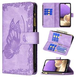 Binfen Color Imprint Vivid Butterfly Buckle Zipper Multi-function Leather Phone Wallet for Samsung Galaxy A32 5G - Purple