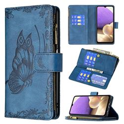 Binfen Color Imprint Vivid Butterfly Buckle Zipper Multi-function Leather Phone Wallet for Samsung Galaxy A32 5G - Blue