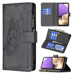 Binfen Color Imprint Vivid Butterfly Buckle Zipper Multi-function Leather Phone Wallet for Samsung Galaxy A32 5G - Black