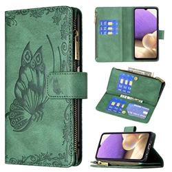 Binfen Color Imprint Vivid Butterfly Buckle Zipper Multi-function Leather Phone Wallet for Samsung Galaxy A32 5G - Green