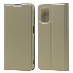 Ultra Slim Card Magnetic Automatic Suction Leather Wallet Case for Samsung Galaxy A32 5G - Champagne