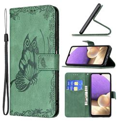 Binfen Color Imprint Vivid Butterfly Leather Wallet Case for Samsung Galaxy A32 5G - Green