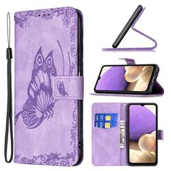 Binfen Color Imprint Vivid Butterfly Leather Wallet Case for Samsung Galaxy A32 5G - Purple