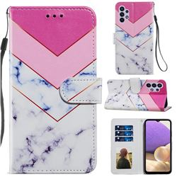 Smoke Marble Smooth Leather Phone Wallet Case for Samsung Galaxy A32 5G