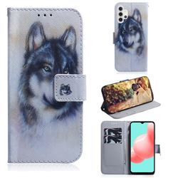 Snow Wolf PU Leather Wallet Case for Samsung Galaxy A32 5G