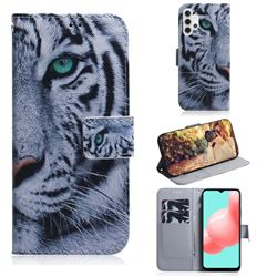 White Tiger PU Leather Wallet Case for Samsung Galaxy A32 5G