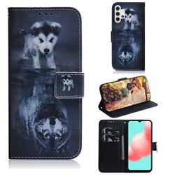 Wolf and Dog PU Leather Wallet Case for Samsung Galaxy A32 5G