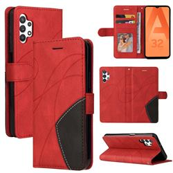 Luxury Two-color Stitching Leather Wallet Case Cover for Samsung Galaxy A32 5G - Red