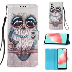 Sweet Gray Owl 3D Painted Leather Wallet Case for Samsung Galaxy A32 5G