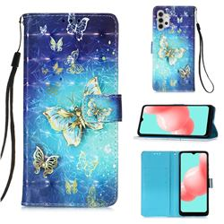 Gold Butterfly 3D Painted Leather Wallet Case for Samsung Galaxy A32 5G