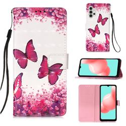 Rose Butterfly 3D Painted Leather Wallet Case for Samsung Galaxy A32 5G