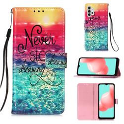 Colorful Dream Catcher 3D Painted Leather Wallet Case for Samsung Galaxy A32 5G