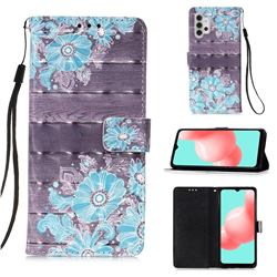 Blue Flower 3D Painted Leather Wallet Case for Samsung Galaxy A32 5G
