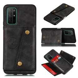 Retro Multifunction Card Slots Stand Leather Coated Phone Back Cover for Samsung Galaxy A32 5G - Black