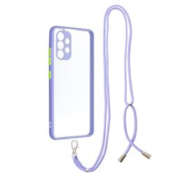 Necklace Cross-body Lanyard Strap Cord Phone Case Cover for Samsung Galaxy A32 4G - Purple