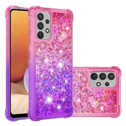 Rainbow Gradient Liquid Glitter Quicksand Sequins Phone Case for Samsung Galaxy A32 4G - Pink Purple