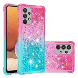 Rainbow Gradient Liquid Glitter Quicksand Sequins Phone Case for Samsung Galaxy A32 4G - Pink Blue