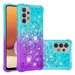 Rainbow Gradient Liquid Glitter Quicksand Sequins Phone Case for Samsung Galaxy A32 4G - Blue Purple