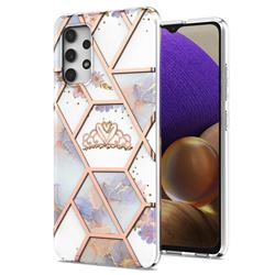 Crown Purple Flower Marble Electroplating Protective Case Cover for Samsung Galaxy A32 4G