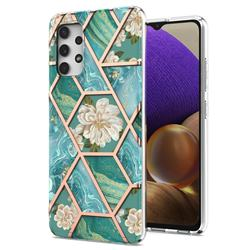 Blue Chrysanthemum Marble Electroplating Protective Case Cover for Samsung Galaxy A32 4G