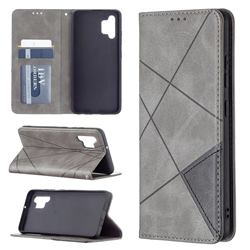 Prismatic Slim Magnetic Sucking Stitching Wallet Flip Cover for Samsung Galaxy A32 4G - Gray