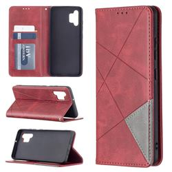 Prismatic Slim Magnetic Sucking Stitching Wallet Flip Cover for Samsung Galaxy A32 4G - Red