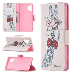 Glasses Giraffe Leather Wallet Case for Samsung Galaxy A32 4G