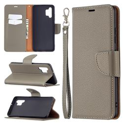 Classic Luxury Litchi Leather Phone Wallet Case for Samsung Galaxy A32 4G - Gray