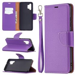 Classic Luxury Litchi Leather Phone Wallet Case for Samsung Galaxy A32 4G - Purple