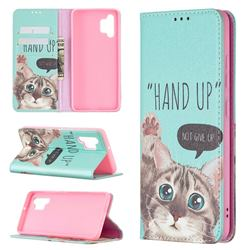 Hand Up Cat Slim Magnetic Attraction Wallet Flip Cover for Samsung Galaxy A32 4G