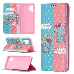 Elephant Boy and Girl Slim Magnetic Attraction Wallet Flip Cover for Samsung Galaxy A32 4G