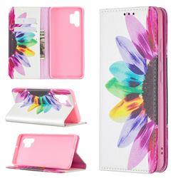 Sun Flower Slim Magnetic Attraction Wallet Flip Cover for Samsung Galaxy A32 4G