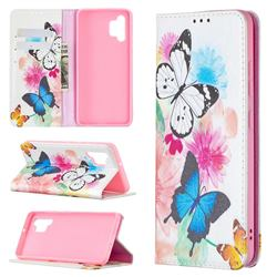 Flying Butterflies Slim Magnetic Attraction Wallet Flip Cover for Samsung Galaxy A32 4G