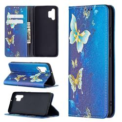 Gold Butterfly Slim Magnetic Attraction Wallet Flip Cover for Samsung Galaxy A32 4G