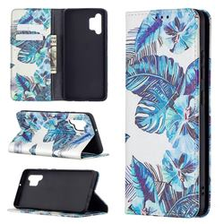 Blue Leaf Slim Magnetic Attraction Wallet Flip Cover for Samsung Galaxy A32 4G