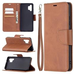 Classic Sheepskin PU Leather Phone Wallet Case for Samsung Galaxy A32 4G - Brown