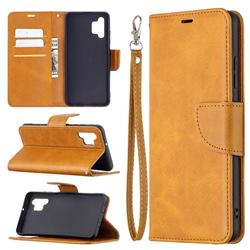 Classic Sheepskin PU Leather Phone Wallet Case for Samsung Galaxy A32 4G - Yellow