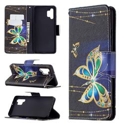 Golden Shining Butterfly Leather Wallet Case for Samsung Galaxy A32 4G