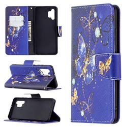 Purple Butterfly Leather Wallet Case for Samsung Galaxy A32 4G