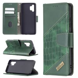BinfenColor BF04 Color Block Stitching Crocodile Leather Case Cover for Samsung Galaxy A32 4G - Green