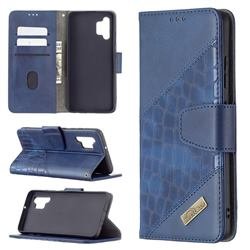 BinfenColor BF04 Color Block Stitching Crocodile Leather Case Cover for Samsung Galaxy A32 4G - Blue